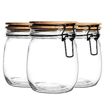 3 Piece Airtight Storage Jar with Wooden Lid Set - Round Style Glass Canister - Black Seal - 750ml