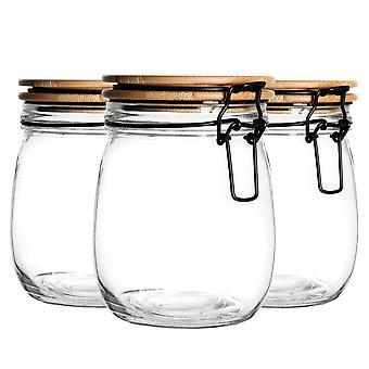 """צנצנת אחסון אטומה עם סט מכסה מעץ - מיכל זכוכית בסגנון עגול - חותם שחור - 750 מ""""ל"""