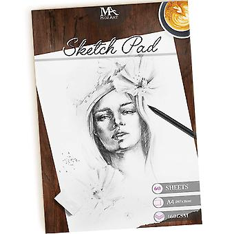 Sketch pad – 60 sheets, a4 size, 160gsm - premium quality, smooth, thick drawing paper for your ar