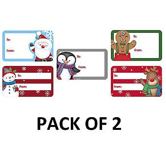 Eurowrap Cute Christmas Sticker Tags (Pack of 100)