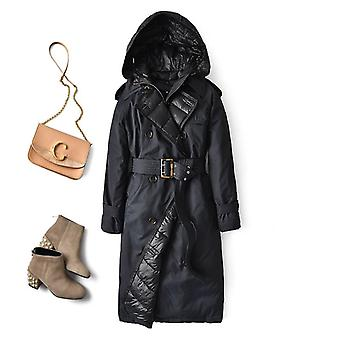 Down Trench Coat, Winter  Duck Down Jacket, Women Hooded Long Thick Warm Puffer