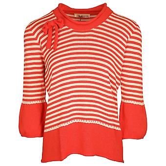 Evalinka Coral & White Striped Cotton Blend Knitted Cowl Neck Long Sleeve Jumper