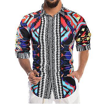 YANGFAN Men's Printed Long Sleeve Shirt Splicing Top