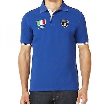 Lamborghini Mens Italian Flag Ss Polo Shirt Cobalt