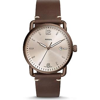 Fossil FS5341 The Commuter Three-Hand Date Brown Leather Mens Watch
