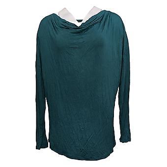 DG2 by Diane Gilman Women's Top Cowl-Neck Long-Sleeve Green 716-488