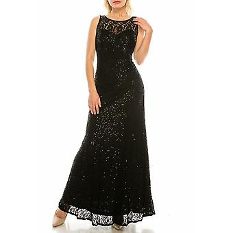 Sequined Lace Long Evening Gown
