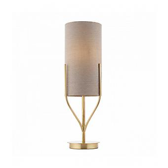 Fraser Table Lamp In Steel, Satin Brass Plate And Natural Linen Blend Fabric
