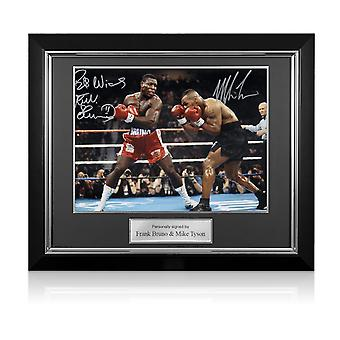 Mike Tyson And Frank Bruno Signed Boxing Photo. Deluxe Framed