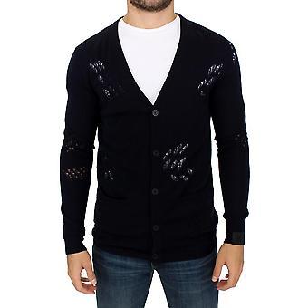 Karl Lagerfeld Blue Wool Cardigan Sweater