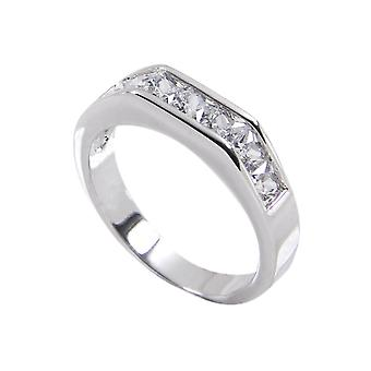 Curved Flat Top Sterling Silver Half Eternity Band Ring