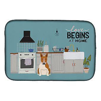 Carolines Treasures  CK7839DDM Red White Bull Terrier Kitchen Scene Dish Drying