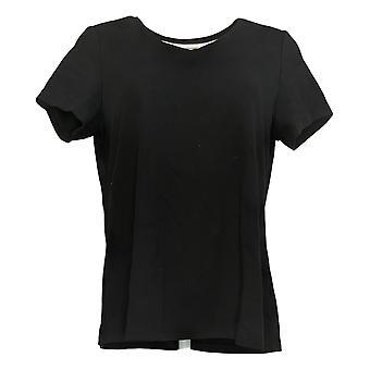 Isaac Mizrahi En direct! Femmes's Top Pima Cotton V-Neck T-Shirt Noir A380859