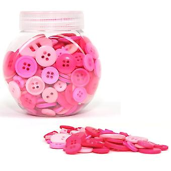 LAST FEW - 120g Mixed Size and Shade Button Tubs for Crafts - Pinks