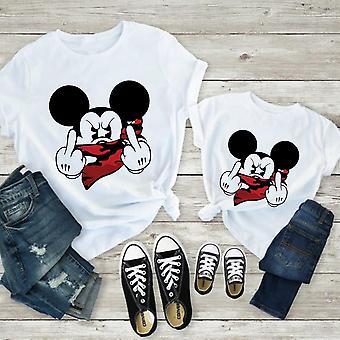 Women Mouse Print T-paita, Ajanviete Valkoinen Lyhyt, Vauvan toppit