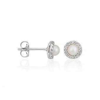 Orecchini in oro bianco diamante e perla