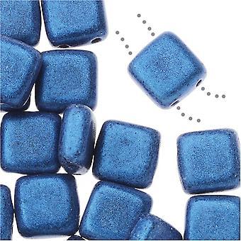 CzechMates Glass, 2-Hole Square Tile Beads 6mm, 1 Strand, Metallic Blue Suede