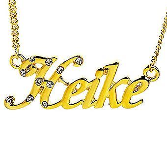 """L Heike - Halskæde med brugerdefineret navn, belagt med 18 karat guld, justerbar kæde af 16 """"- 19"""", i regal emballage"""