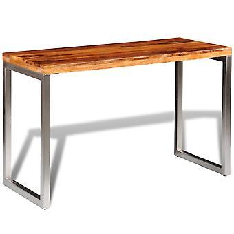 vidaXL Esstisch Schreibtisch Massivholz mit Stahlbeinen