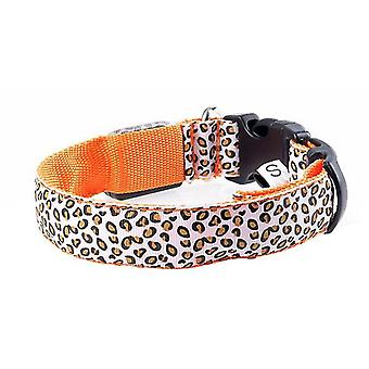 M 37-46cm النمر البرتقالي أدى قابل للتعديل، ليلة سلامة النايلون مضيئة الكلب الحيوانات الأليفة طوق az3785