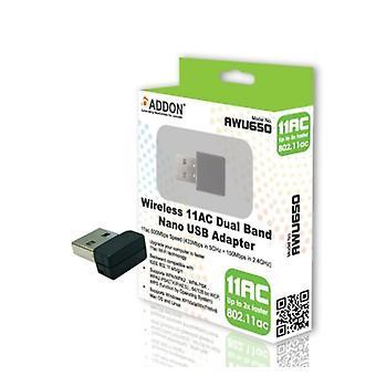 ADDON Wireless AC Dual Band 600Mbps Nano USB adaptér (AWU650)