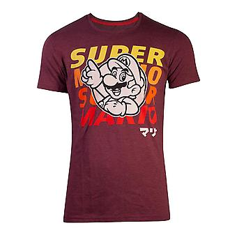 Nintendo - Space Dye Mario Unisex XX-Large T-Shirt - Rosso
