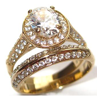 Ah! Jewellery Oval Cut Simulated Diamond Centre Stone, Gold Over Stainless Steel Ring & Double Row Matching Band.