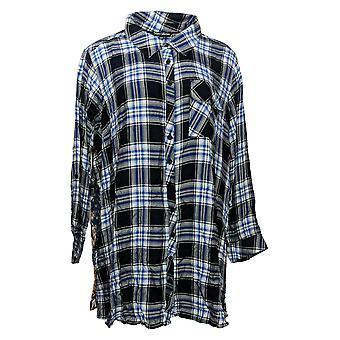 Tolani Collection Women's Petite Top Plaid Tunic Print Back Blue A383446