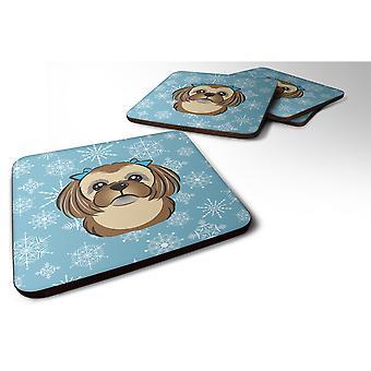 Caroline's Treasures BB1683FC Fiocco di neve Cioccolato Marrone Shih Tzu Foam Coasters (Set di 4), 3.5, Multicolor