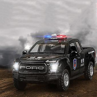 1:32 محاكاة سبيكة الشرطة سيارة بيك اب سيارة بيك اب سيارة معدنية يموت الصب اللعبة مع ضوء الصوت