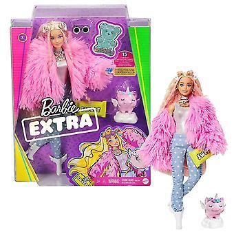 Barbie Extra Doll en pelage moelleux rose avec cochon licorne de compagnie