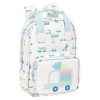 School Bag Safta Cars White Light Blue