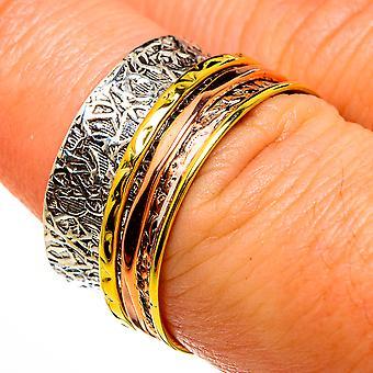 Meditação Spinner Ring Tamanho 6.75 (925 Sterling Silver) - Handmade Boho Vintage Jewely RING77970