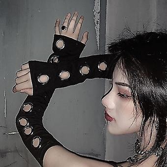 Unisex Eyelet Arm Warmer Hollow Out Elbow Length Cuff Sleeves