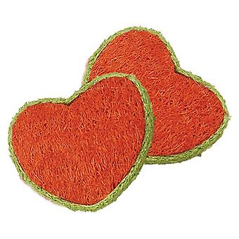 AE Cage Company Nibbles Hearts Loofah Chew Toys - 2 count