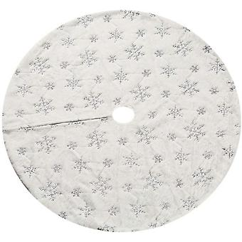 Christmas Sequin Tree Skirt 48in, White Soft Thick With Silver Sonwflakes Decorations For 6ft 7ft 8ft 9ft Xmas Tree