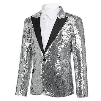 Homemiyn Boy schlanke Casual Boy Kleid Einreiihigen Knopf Jcaket solide Farbe Pailletten Blazer Jacke drei Farben