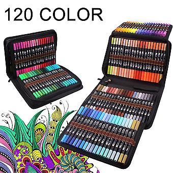 Stylos à pinceau fin à double pointe pour adultes et enfants pour colorier, calligraphie, dessin, cadeau, 12-120