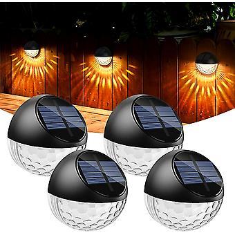 4pcs Led Solar Licht Außenwand Licht Ip65 Wasserdichte Dekoration Warmweiß Licht Zaun Hof Garten Treppe Gehweg