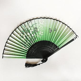 Antique Silk Bamboo Good Luck Gift Two Qingyixiao Portable Folding Fan