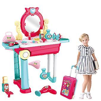 Girls Makeup Trolley Case Toy Set, Childrens Makeup Simulation Dressing Table With Light And Sound Effects, The Best Birthday Gift For Children