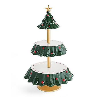 Creative Christmas Tree Snack Rack Double Layer Cake Stand Xmas Party Supplies