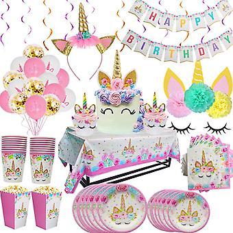 Sateenkaari yksisarvinen syntymäpäivä juhla astiasto lautaset Kuppi Lapset Suosi yksisarvinen Led Kevyt Häät Vauva Suihku Juhla Koristeet