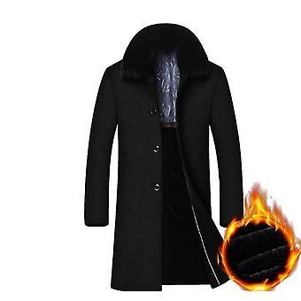 Vestes de manteaux chauds de laine de mélange de fourrure d'hiver