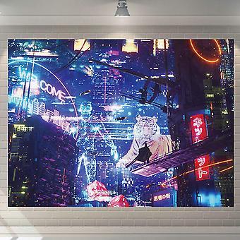 cyberpunk stil tapet, vegg hengende klut-150x200cm