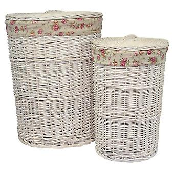 Set of 2 Round White Wash Laundry Baskets with a Garden Rose Lining