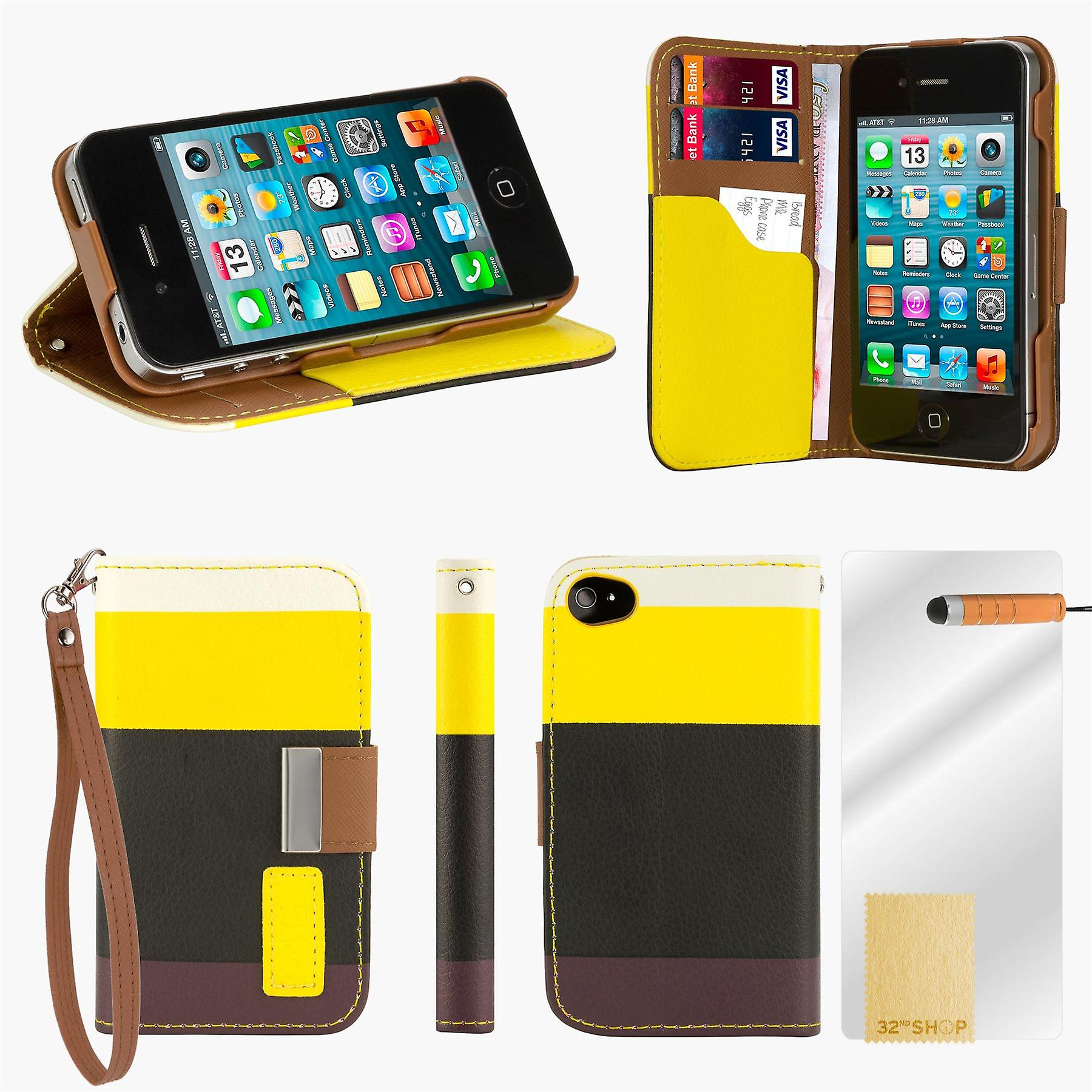Multiple Stripe wallet case + stylus for Apple iPhone 5 5S SE - Yellow