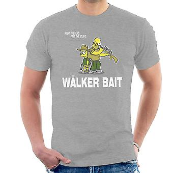 The Walker Bait Walking Dead Rick And Carl Grimes Homer And Bart Simpson Men's T-Shirt