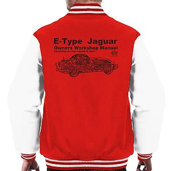Haynes Owners Workshop Manual Jaguar E Type Black Men's Varsity Jacket