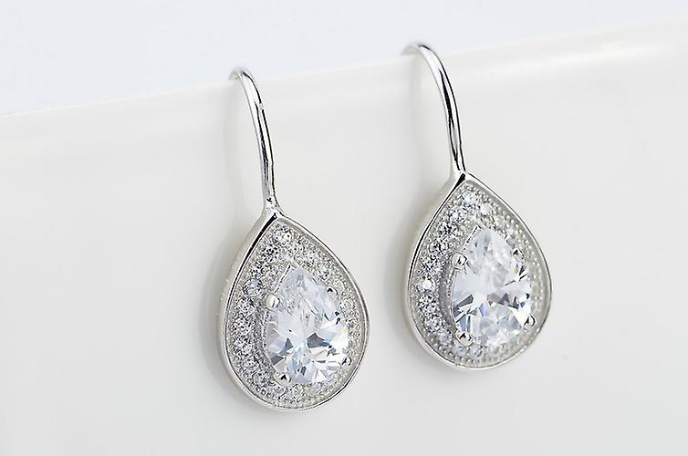 Affici Sterling Silver Drop Earrings 18ct White Gold Plated with Diamond Peardrop CZ Gems